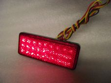 LED rear light Single rectangle red reflector with inbuilt leds additional DRL